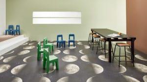 Forbo vinyl safety flooring in school