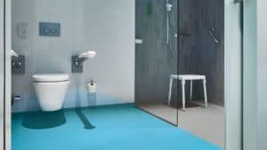 Forbo vinyl safety flooring in restroom