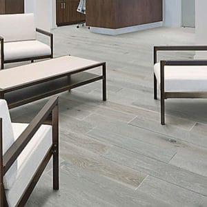 Mohawk hardwood flooring in reception area