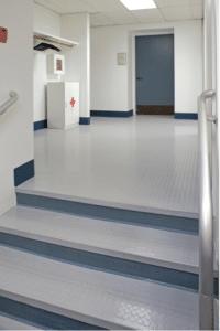 Roppe vinyl stair tread flooring in medical space